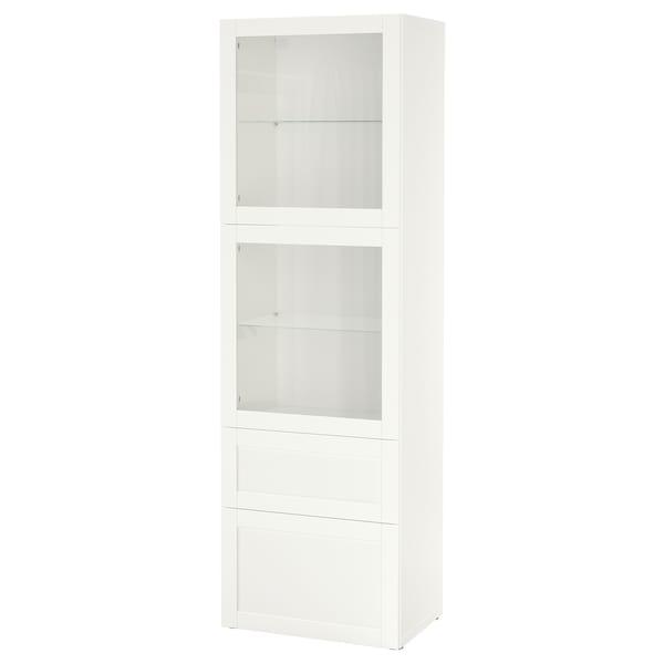 BESTÅ Säilytyskokonaisuus/vitriiniovet, valkoinen/Hanviken valkoinen lasi, 60x42x193 cm