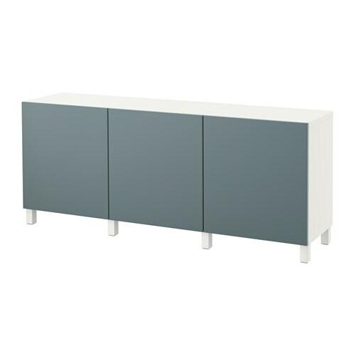 BESTÅ Säilytyskokonaisuus+ovet  valkoinen Valviken harmaanturkoosi  IKEA
