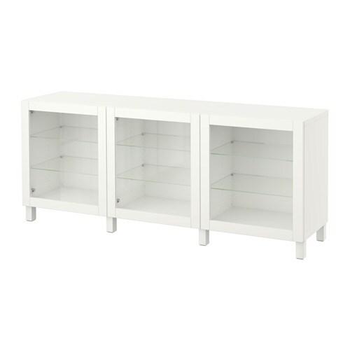 BESTÅ Säilytyskokonaisuus+ovet  Sindvik valkoinen lasi  IKEA