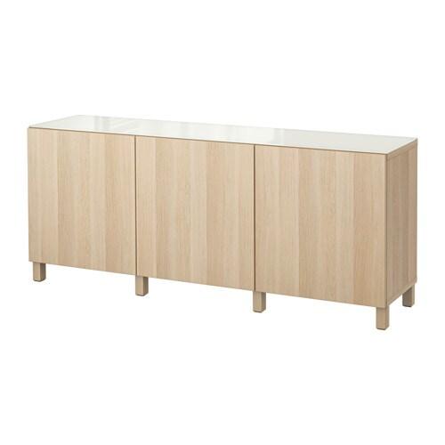 BESTÅ Säilytyskokonaisuus+ovet  Lappviken vaaleaksi petsattu tammikuvio  IKEA