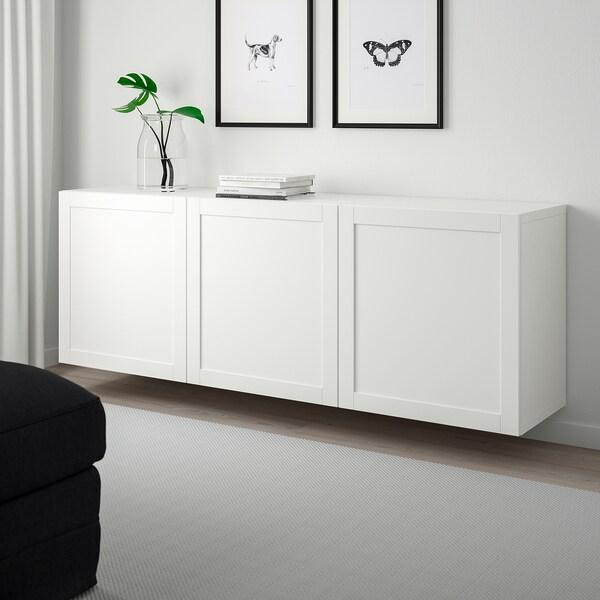 BESTÅ Seinään kiinnitettävä kaappikok, valkoinen/Hanviken valkoinen, 180x42x64 cm