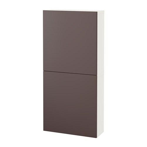 BESTÅ Seinäkaappi 2 ovea  valkoinen Valviken tummanruskea  IKEA