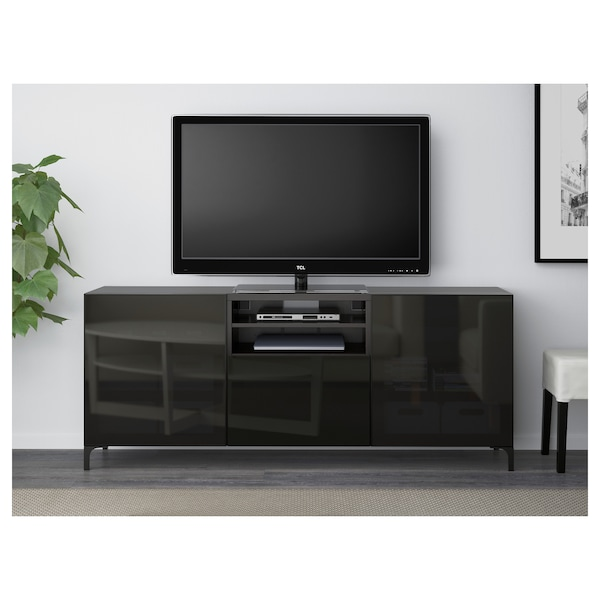 BESTÅ tv-taso + laatikot mustanruskea/Selsviken korkeakiilto musta/savulasi 180 cm 40 cm 74 cm 50 kg