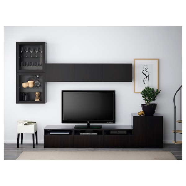 BESTÅ Tv-kalustekokonaisuus/vitriiniovet, mustanruskea/Lappviken mustanruskea lasi, 300x42x211 cm