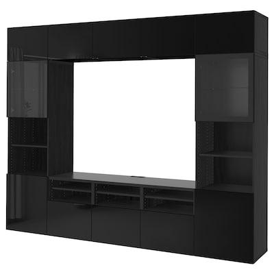 BESTÅ Tv-kalustekokonaisuus/vitriiniovet, mustanruskea/Selsviken korkeakiilto musta/kirkas lasi, 300x40x230 cm