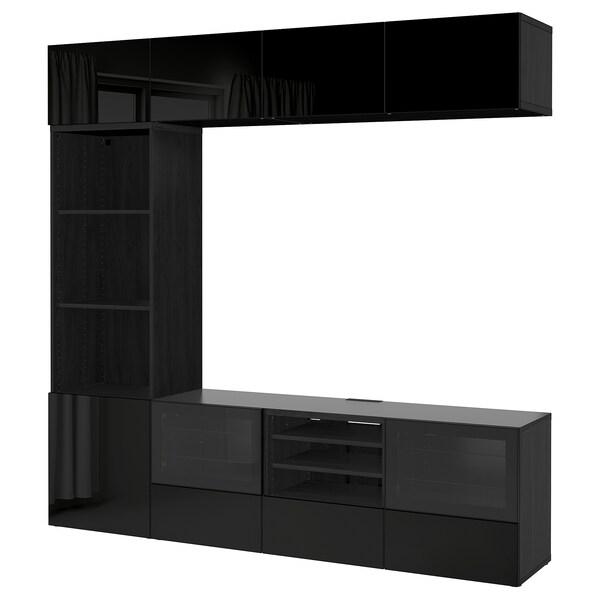 BESTÅ Tv-kalustekokonaisuus/vitriiniovet, mustanruskea/Selsviken korkeakiilto musta/kirkas lasi, 240x40x230 cm