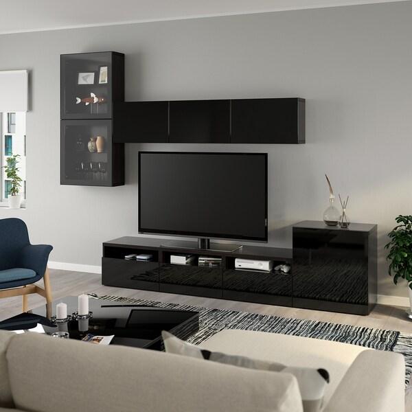 BESTÅ Tv-kalustekokonaisuus/vitriiniovet, mustanruskea/Selsviken korkeakiilto musta/kirkas lasi, 300x42x211 cm