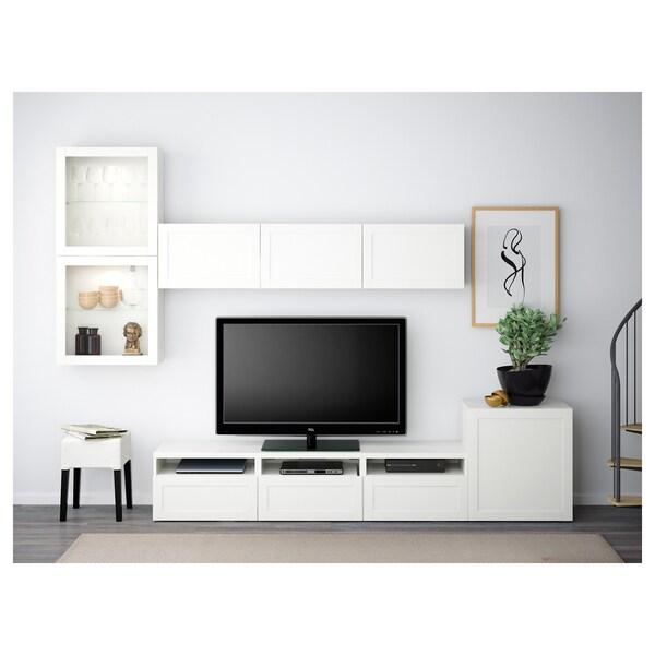 BESTÅ Tv-kalustekokonaisuus/vitriiniovet, valkoinen/Hanviken valkoinen lasi, 300x42x211 cm