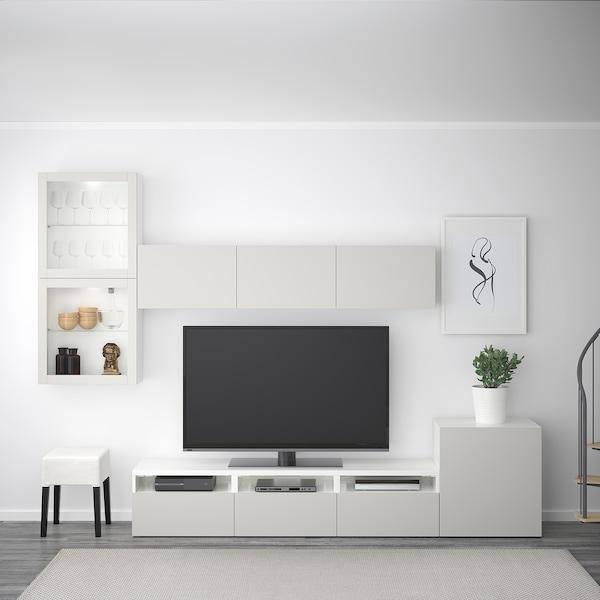 BESTÅ Tv-kalustekokonaisuus/vitriiniovet, valkoinen/Lappviken vaaleanharmaa lasi, 300x42x211 cm