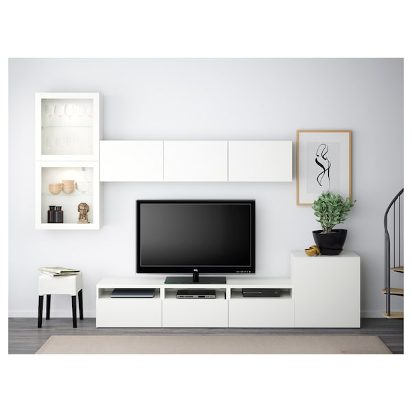 BESTÅ Tv-kalustekokonaisuus/vitriiniovet, valkoinen/Lappviken valkoinen lasi, 300x42x211 cm