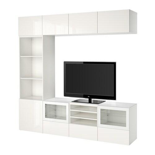 BESTÅ Tv kalustekokonaisuus vitriiniovet  valkoinen Selsviken korkeakiilto v