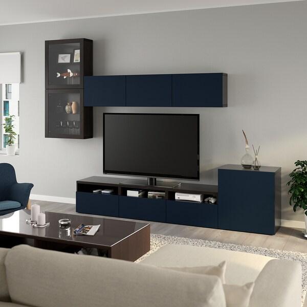 BESTÅ tv-kalustekokonaisuus/vitriiniovet mustanruskea/Notviken sininen lasi 300 cm 211 cm 42 cm