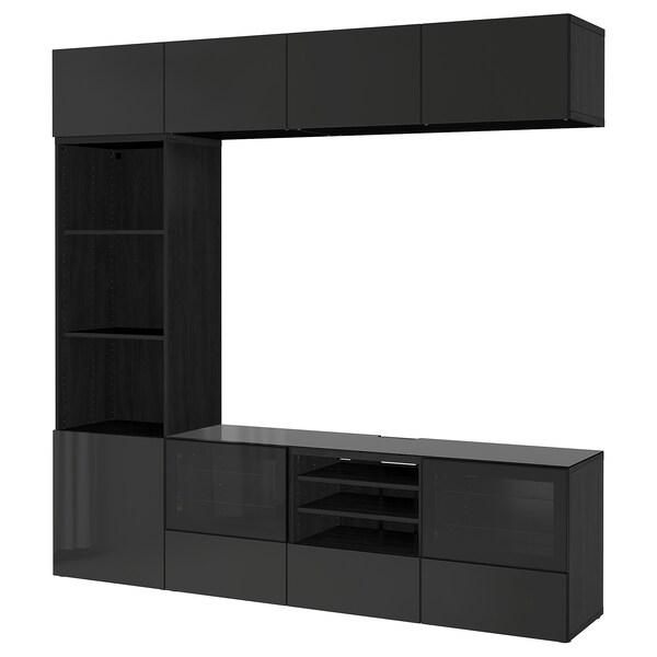 BESTÅ tv-kalustekokonaisuus/vitriiniovet mustanruskea/Selsviken korkeakiilto musta/kirkas lasi 240 cm 40 cm 230 cm