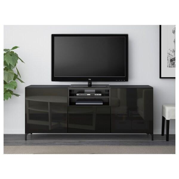 BESTÅ Tv-taso, mustanruskea/Selsviken korkeakiilto musta/savulasi, 180x40x74 cm