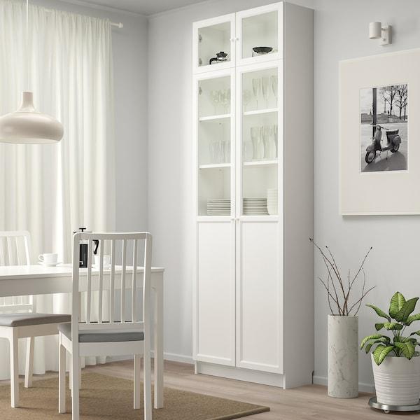 BILLY Kirjahylly+korotus/paneeli/vitriini, valkoinen, 80x30x237 cm