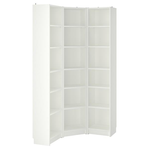 BILLY Kirjahyllykokonaisuus/kulma, valkoinen, 95/95x28x202 cm