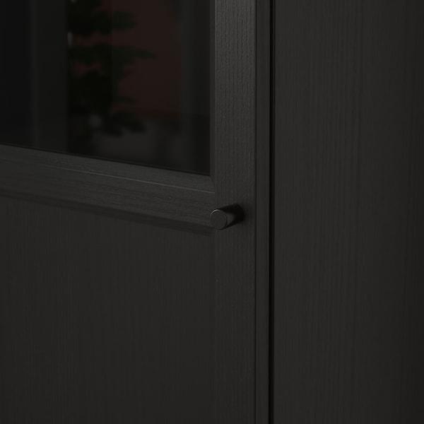 BILLY / OXBERG kirjahylly+paneeli-/vitriiniovi mustanruskea/lasi 40 cm 30 cm 202 cm 14 kg