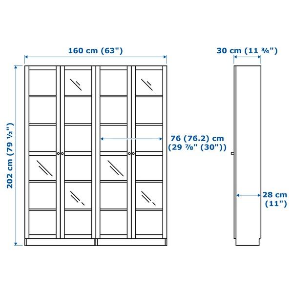 BILLY / OXBERG Kirjahylly, valkoinen/lasi, 160x30x202 cm