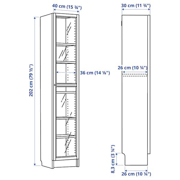 BILLY / OXBERG Kirjahylly + vitriiniovi, valkoinen/lasi, 40x30x202 cm
