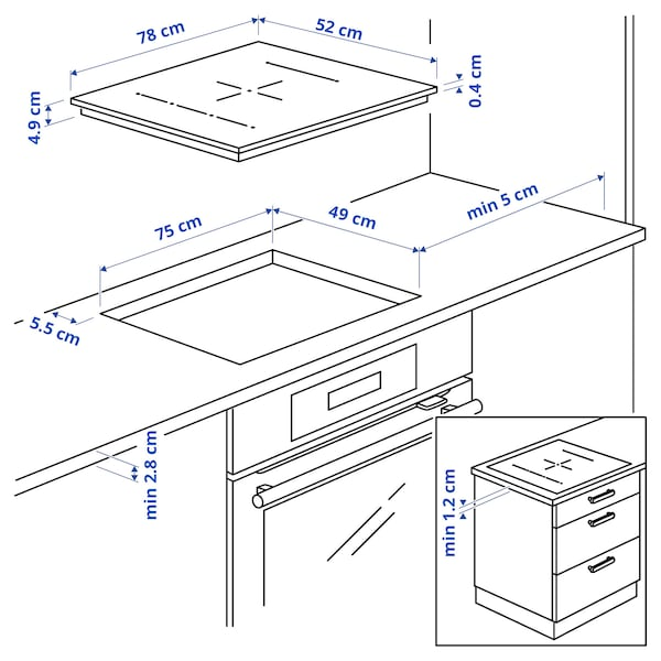 BLIXTSNABB Induktiokeittotaso, IKEA 700 musta, 78 cm
