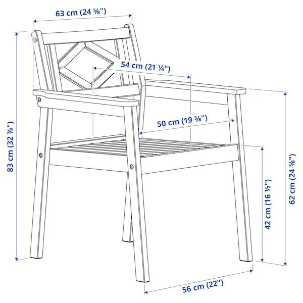 BONDHOLMEN Käsinojallinen tuoli, ulkokäyttöön, harmaa