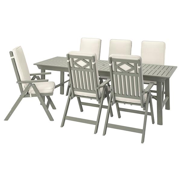 BONDHOLMEN Ulkokalustesetti (pöytä/6 sääd tu), harmaaksi petsattu/Järpön/Duvholmen valkoinen