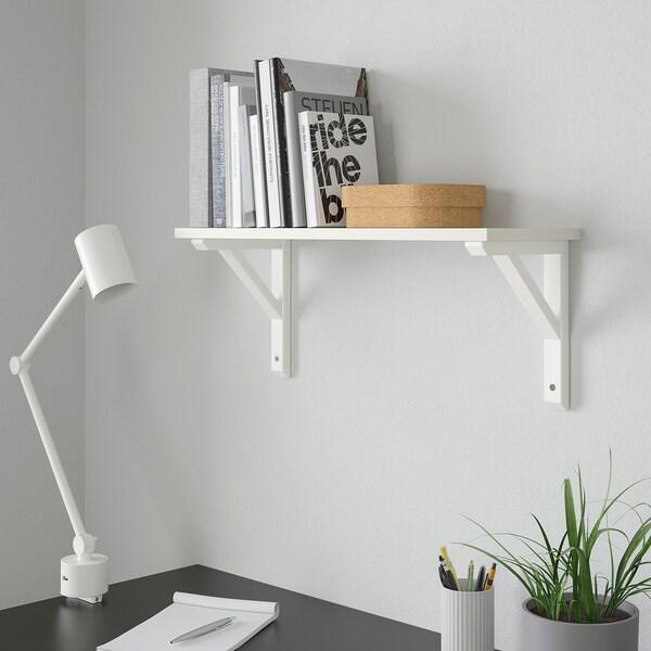 BURHULT / SANDSHULT Seinähylly, valkoinen/valkoiseksi petsattua haapaa, 59x20 cm