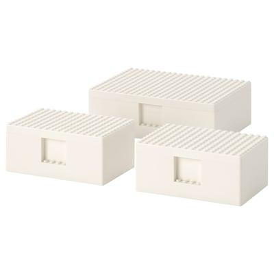 BYGGLEK Kannellinen LEGO®-laatikko, 3 kpl, valkoinen