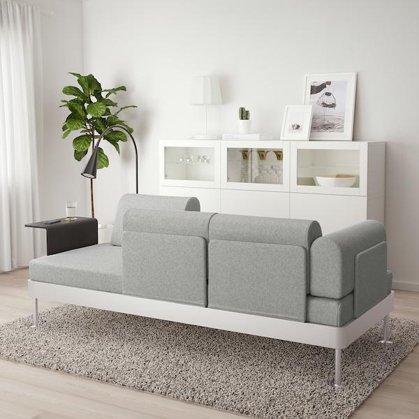DELAKTIG 3:n ist sohva+sivupöytä+valaisin, Tallmyra valkoinen/musta