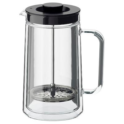 EGENTLIG kahvin-/teenkeitin kaksinkertaiset reunat/kirkas lasi 21 cm 0.9 l