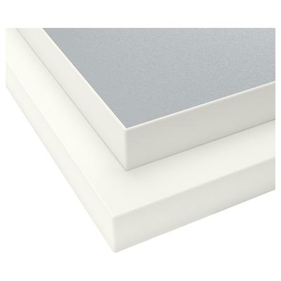 EKBACKEN 2-puolinen työtaso, valkoinen reuna vaaleanharmaa/valkoinen/laminaatti, 186x2.8 cm