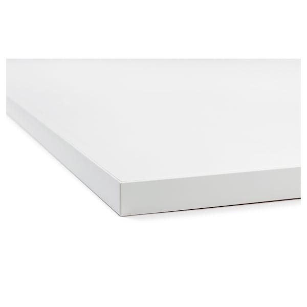 EKBACKEN 2-puolinen työtaso valkoinen reuna vaaleanharmaa/valkoinen/laminaatti 186 cm 63.5 cm 2.8 cm