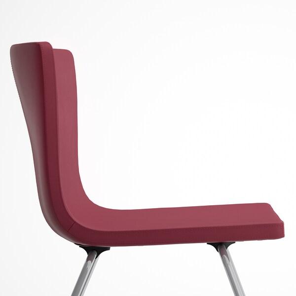 EKEDALEN / BERNHARD Pöytä + 4 tuolia, tummanruskea/Mjuk tummanpunainen, 120/180 cm