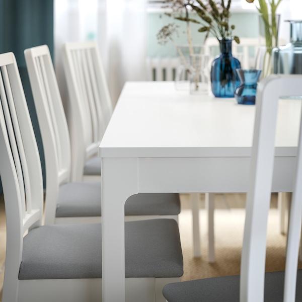 EKEDALEN / EKEDALEN pöytä + 6 tuolia valkoinen/Orrsta vaaleanharmaa 180 cm 240 cm