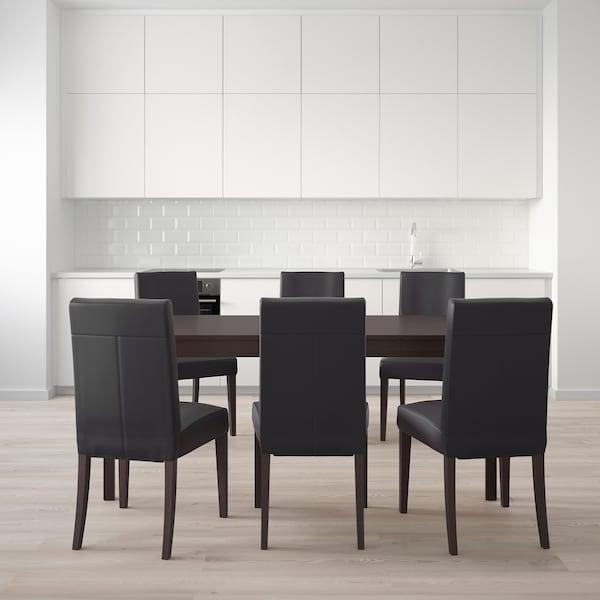 EKEDALEN / HENRIKSDAL pöytä + 6 tuolia tummanruskea/Glose musta 180 cm 240 cm