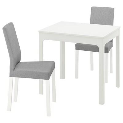 EKEDALEN / KÄTTIL Pöytä + 2 tuolia, valkoinen/Knisa vaaleanharmaa, 80/120 cm
