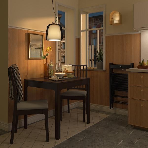 EKEDALEN / EKEDALEN Pöytä + 2 tuolia, tummanruskea/Orrsta vaaleanharmaa, 80/120 cm