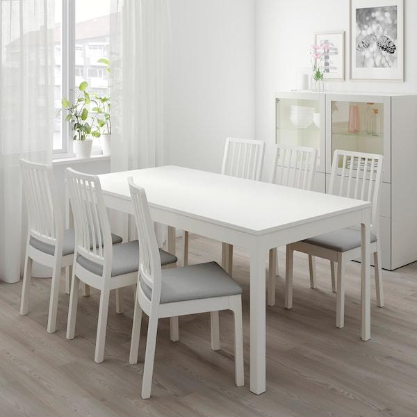 EKEDALEN Ruokapöytä, jatkettava, valkoinen, 180/240x90 cm