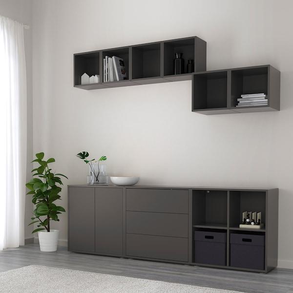 EKET Kaappi+jalat, tummanharmaa, 210x35x180 cm