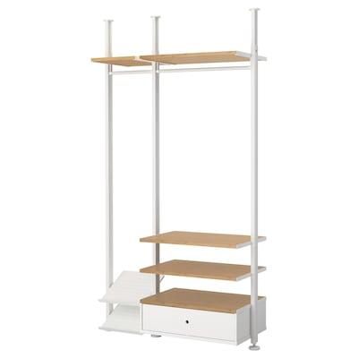 ELVARLI Vaatekaappikokonaisuus, valkoinen/bambu, 135x51x222-350 cm
