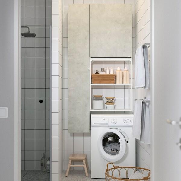ENHET Säilytyskokonaisuus pyykille, valkoinen/betonikuvio, 90x32x180 cm