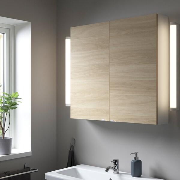 ENHET Seinäkaappi, 2 hyllyä / ovea, valkoinen/tammikuvio, 80x15x75 cm