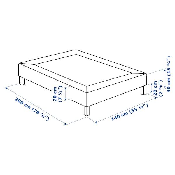 ESPEVÄR Sälepohja+jalat, tummanharmaa, 140x200 cm