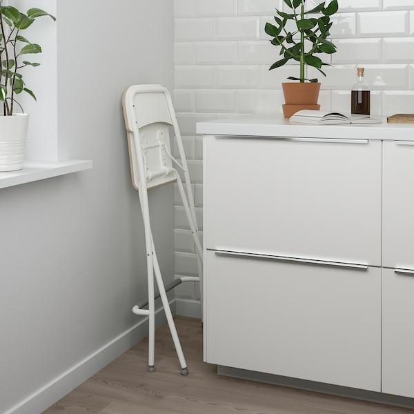 FRANKLIN Taitettava baarituoli, valkoinen/valkoinen, 63 cm
