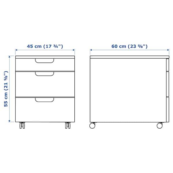 GALANT Laatikosto + pyörät, valkoinen, 45x55 cm