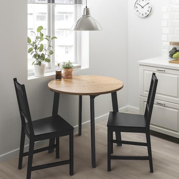GAMLARED / STEFAN Pöytä + 2 tuolia, vaalea antiikkipetsi/ruskeanmusta, 85 cm