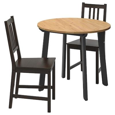 GAMLARED / STEFAN pöytä + 2 tuolia vaalea antiikkipetsi/ruskeanmusta 85 cm