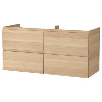 GODMORGON Allaskaluste 4 laatikkoa, vaaleaksi petsattu tammikuvio, 120x47x58 cm