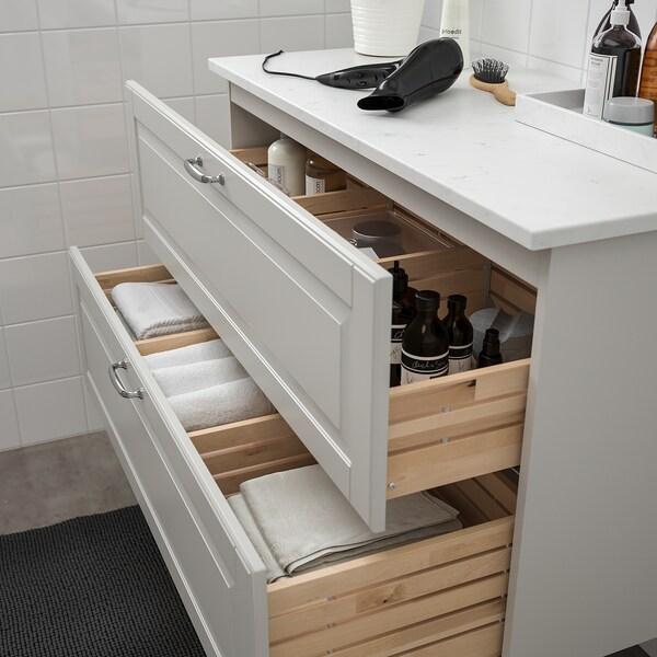 GODMORGON / TOLKEN Allaskaluste 2 laatikkoa, Kasjön vaaleanharmaa/marmorikuvio, 102x49x60 cm