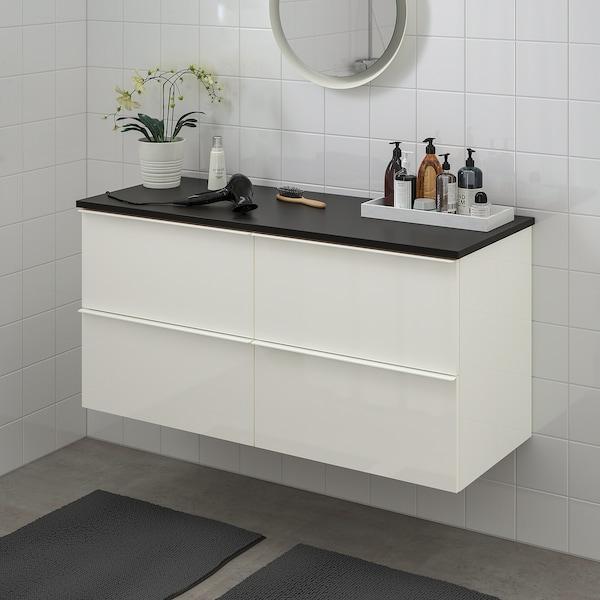 GODMORGON / TOLKEN Allaskaluste 4 laatikkoa, korkeakiilto valkoinen/antrasiitti, 122x49x60 cm